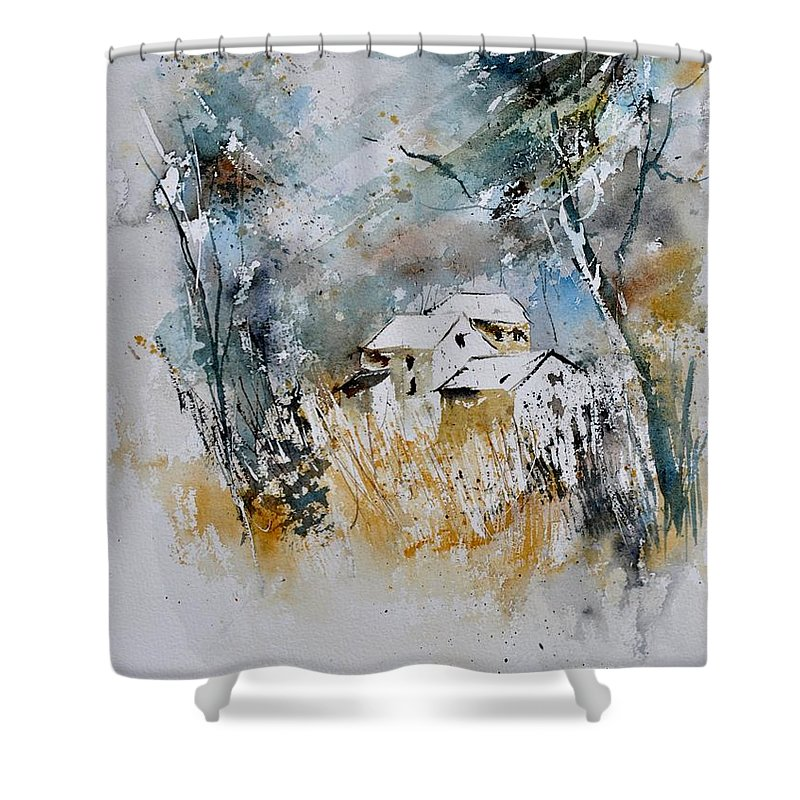 Landscape Shower Curtain featuring the painting Watercolor 015060 by Pol Ledent