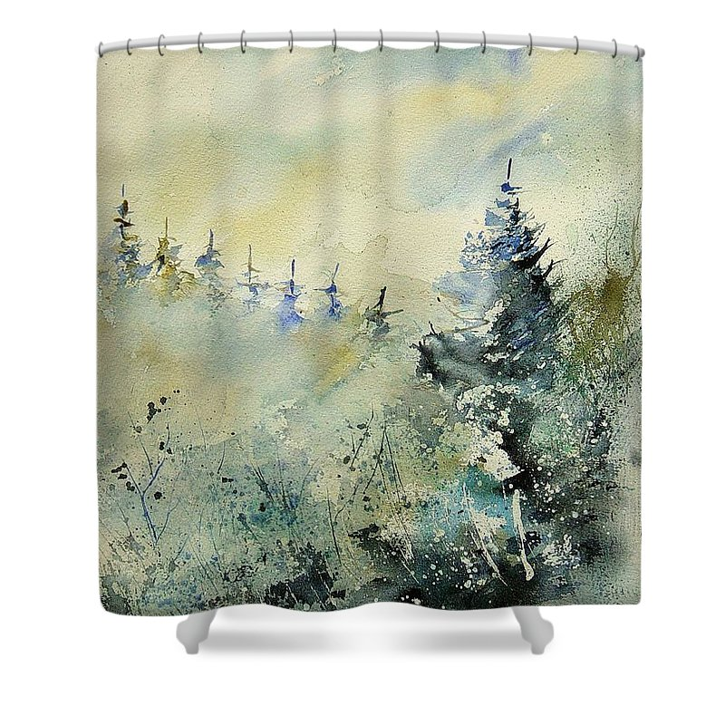 Winter Shower Curtain featuring the painting Watercolor 020307 by Pol Ledent