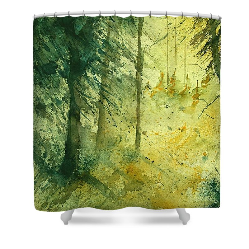 Tree Shower Curtain featuring the painting Watercolor 030106 by Pol Ledent