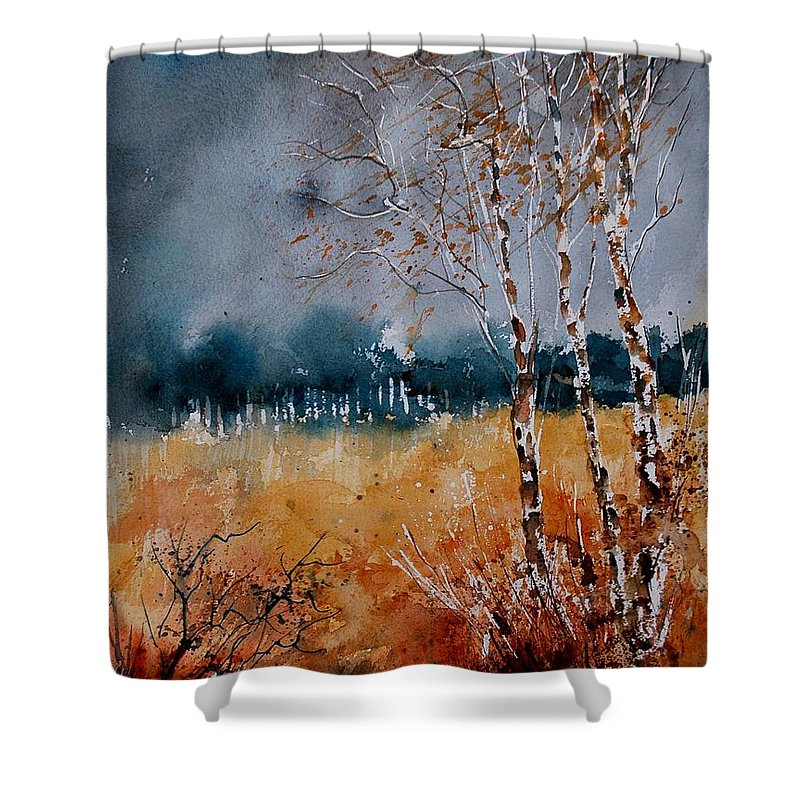 Tree Shower Curtain featuring the painting Watercolor 030308 by Pol Ledent