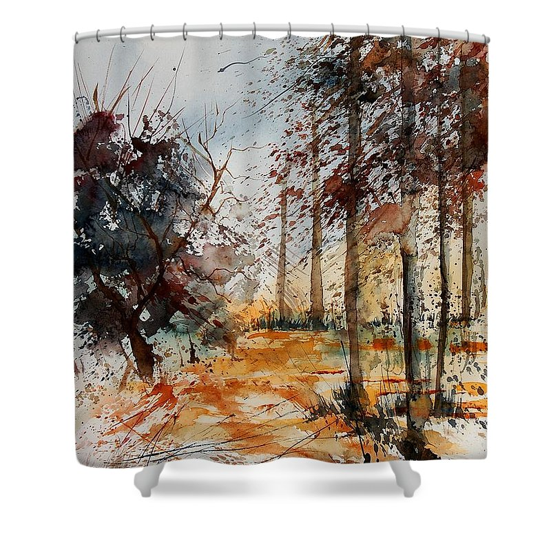 Tree Shower Curtain featuring the painting Watercolor 040902 by Pol Ledent