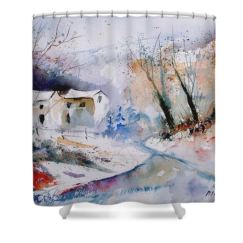 Winter Shower Curtain featuring the painting Watercolor 050408 by Pol Ledent