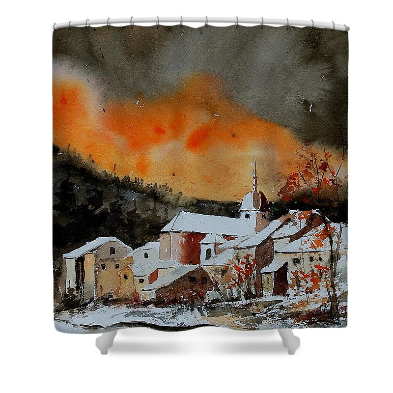 Winter Shower Curtain featuring the painting Watercolor 050707 by Pol Ledent
