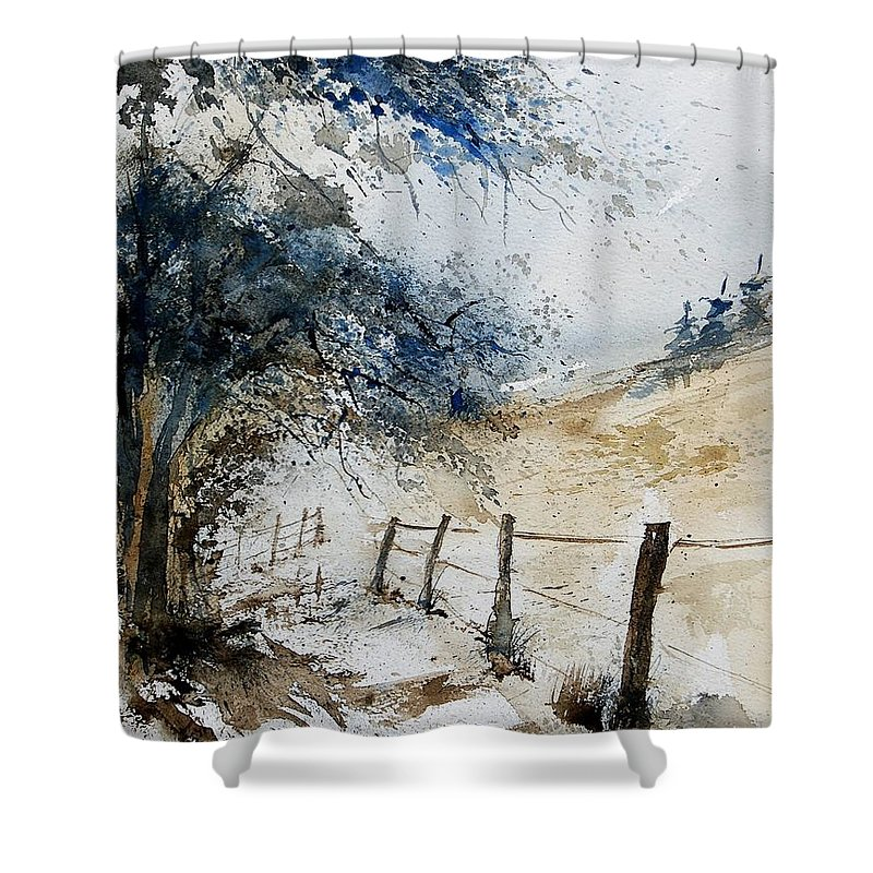 Winter Shower Curtain featuring the painting Watercolor 061106 by Pol Ledent