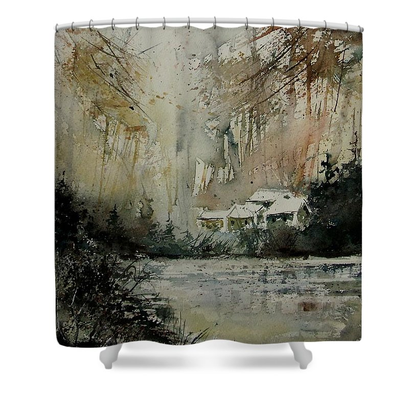 Landscape Shower Curtain featuring the painting Watercolor 070608 by Pol Ledent