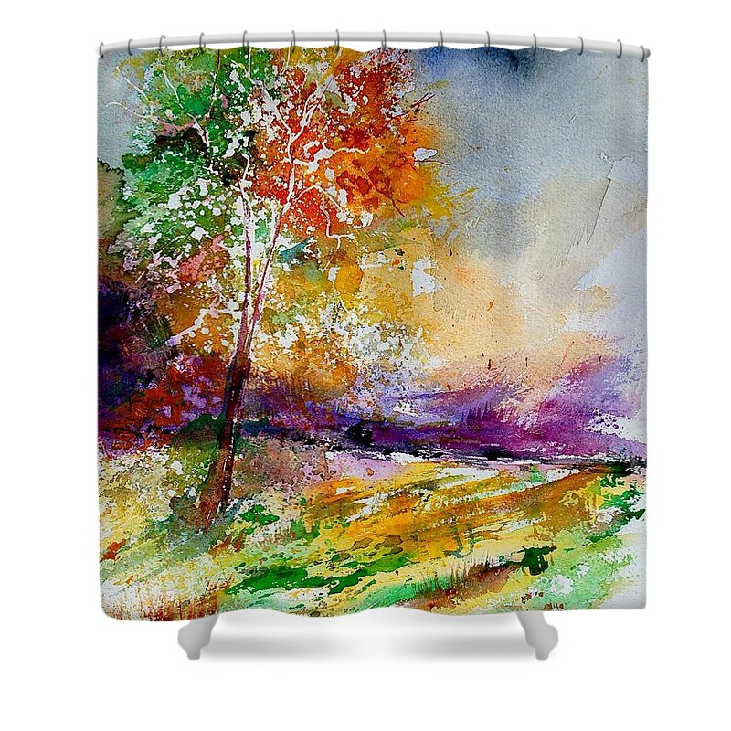 Spring Shower Curtain featuring the painting Watercolor 100507 by Pol Ledent