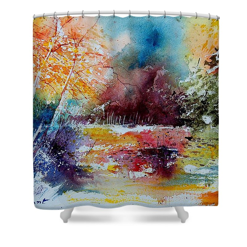 Pond Shower Curtain featuring the painting Watercolor 140908 by Pol Ledent
