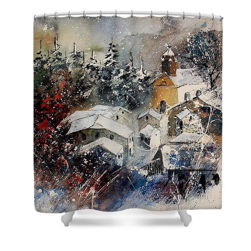 Winter Shower Curtain featuring the painting Watercolor 160908 by Pol Ledent