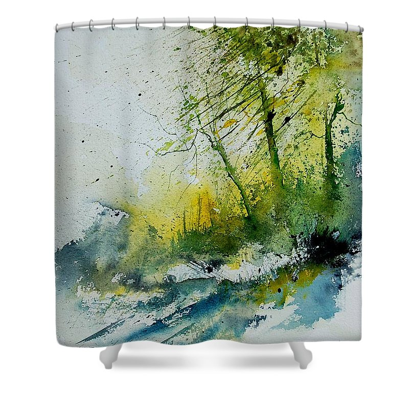 River Shower Curtain featuring the painting Watercolor 181207 by Pol Ledent
