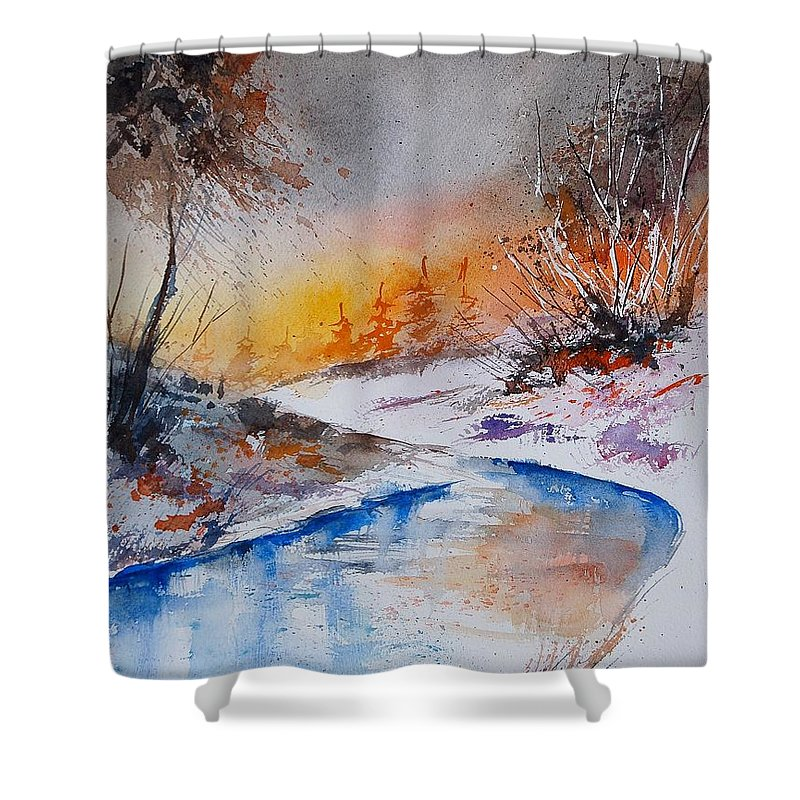 Snow Shower Curtain featuring the painting Watercolor 200308 by Pol Ledent