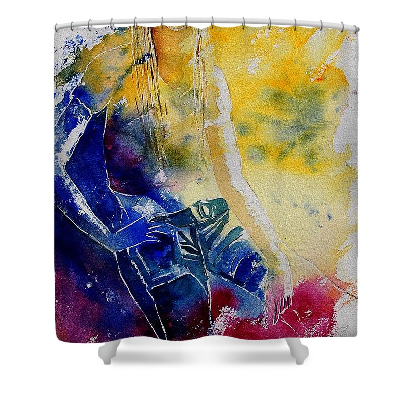 Girl Nude Shower Curtain featuring the painting Watercolor 21546 by Pol Ledent