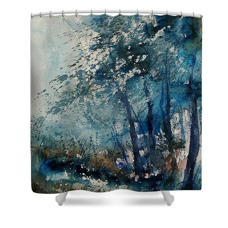 Winter Shower Curtain featuring the painting Watercolor 220907 by Pol Ledent