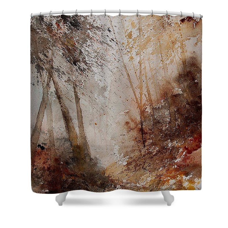 Tree Shower Curtain featuring the painting Watercolor 250908 by Pol Ledent