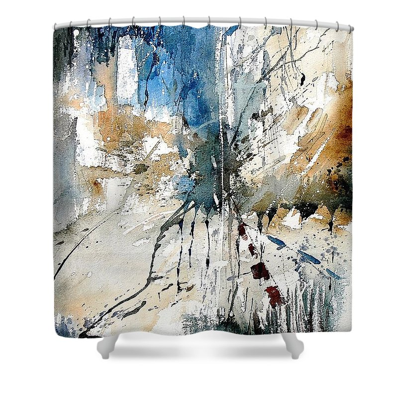 Abstract Shower Curtain featuring the painting Watercolor 251108 by Pol Ledent