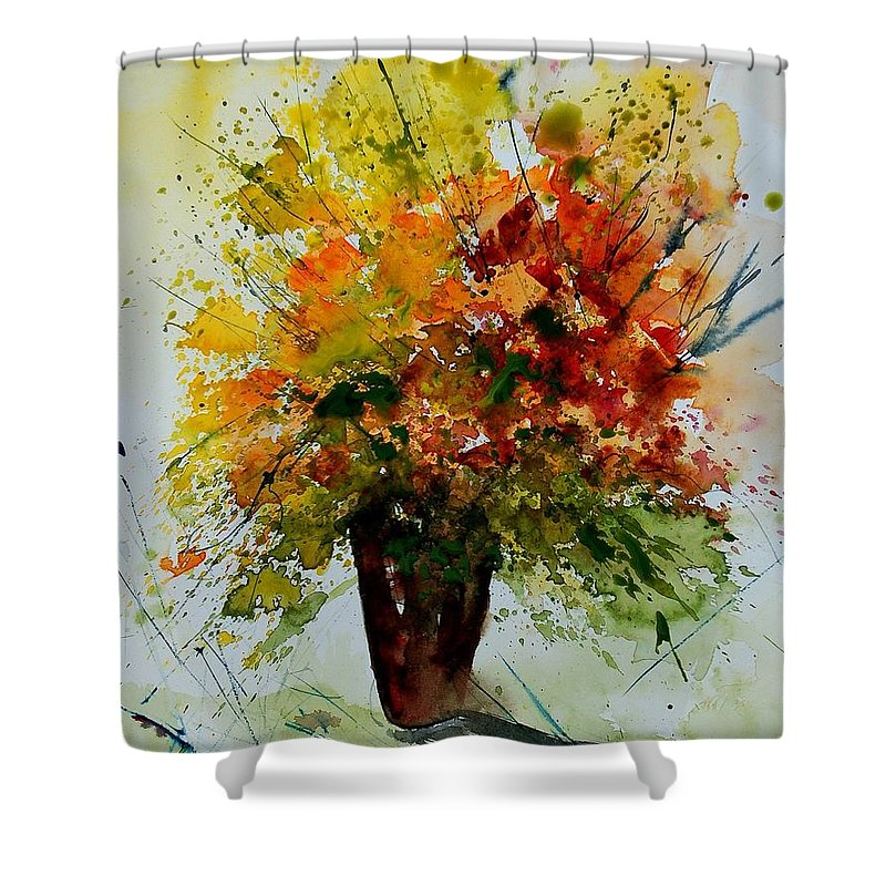 Flowers Shower Curtain featuring the painting Watercolor 290806 by Pol Ledent