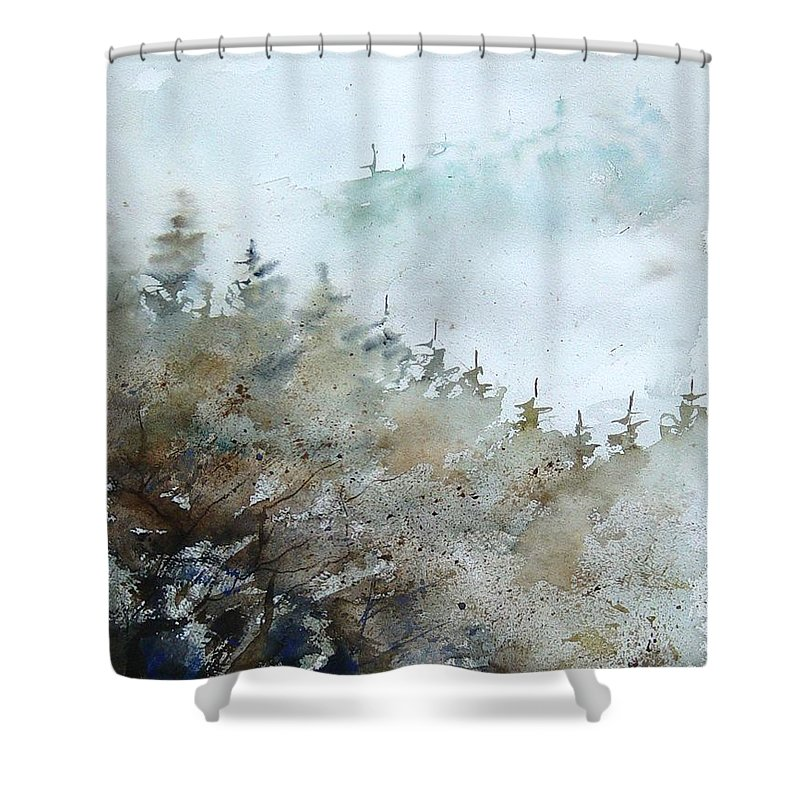 Tree Shower Curtain featuring the painting Watercolor 356214 by Pol Ledent