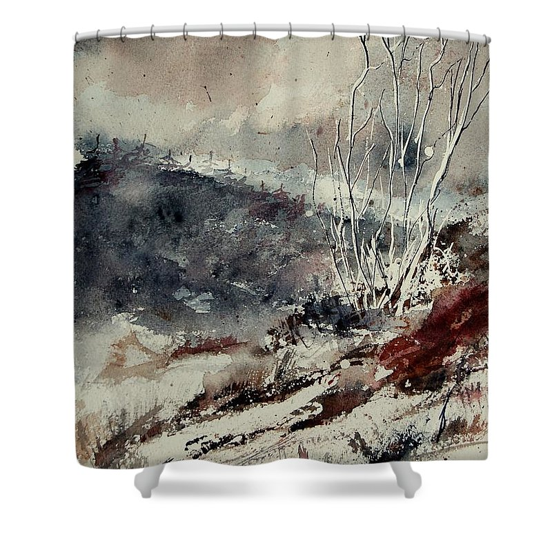 Snow Shower Curtain featuring the print Watercolor 446 by Pol Ledent