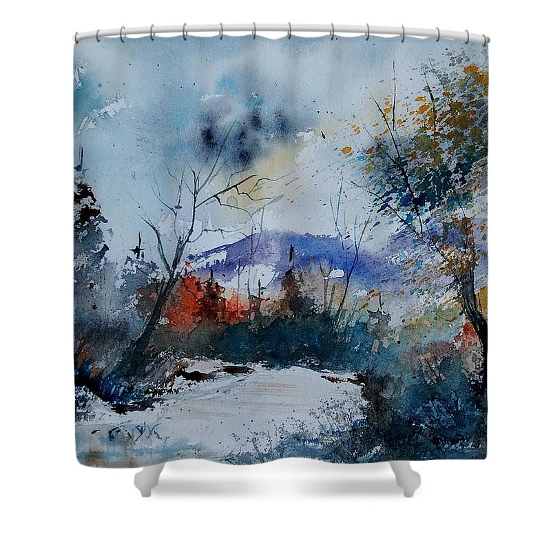 Landscape Shower Curtain featuring the painting Watercolor 802120 by Pol Ledent