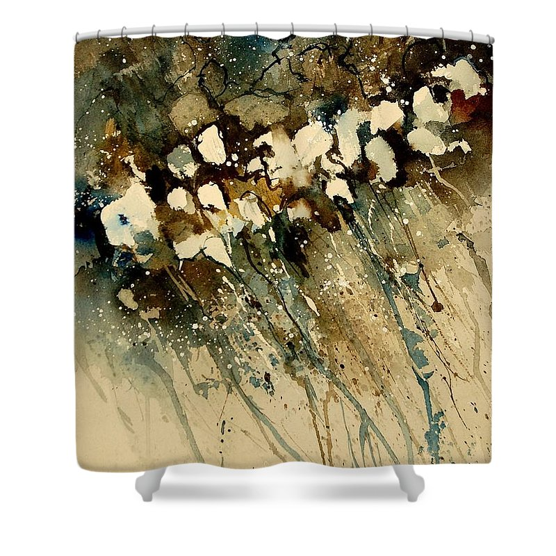 Abstract Shower Curtain featuring the painting Watercolor 901140 by Pol Ledent