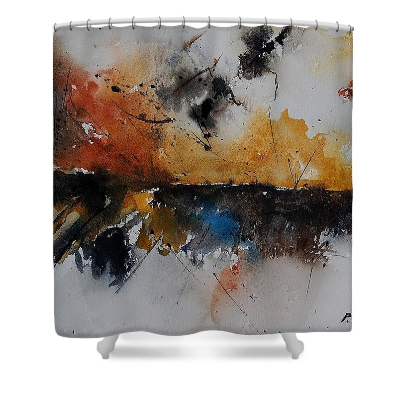 Abstract Shower Curtain featuring the painting Watercolor 901150 by Pol Ledent