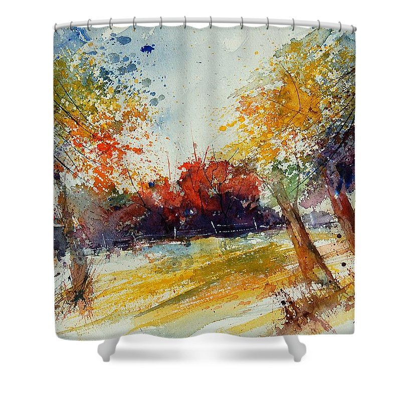 Tree Shower Curtain featuring the painting Watercolor 902010 by Pol Ledent