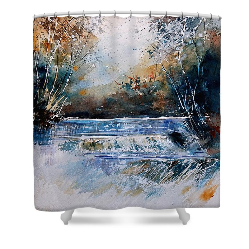 Water Shower Curtain featuring the painting Watercolor 902021 by Pol Ledent