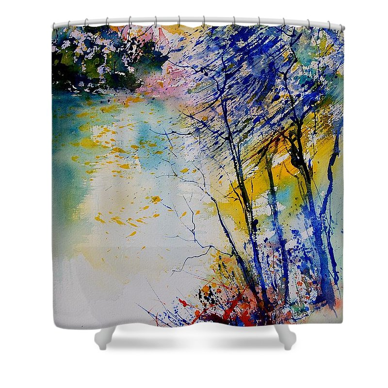 Water Shower Curtain featuring the painting Watercolor 902081 by Pol Ledent
