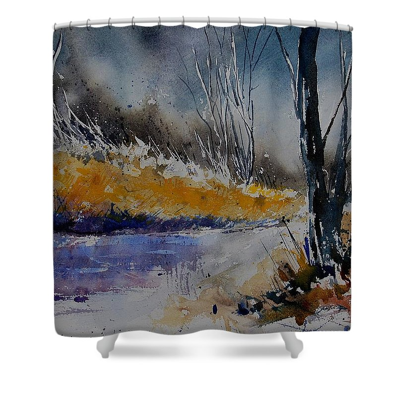 River Shower Curtain featuring the painting Watercolor 902111 by Pol Ledent