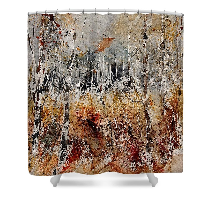Tree Shower Curtain featuring the painting Watercolor 904012 by Pol Ledent