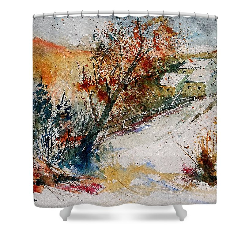Tree Shower Curtain featuring the painting Watercolor 908002 by Pol Ledent