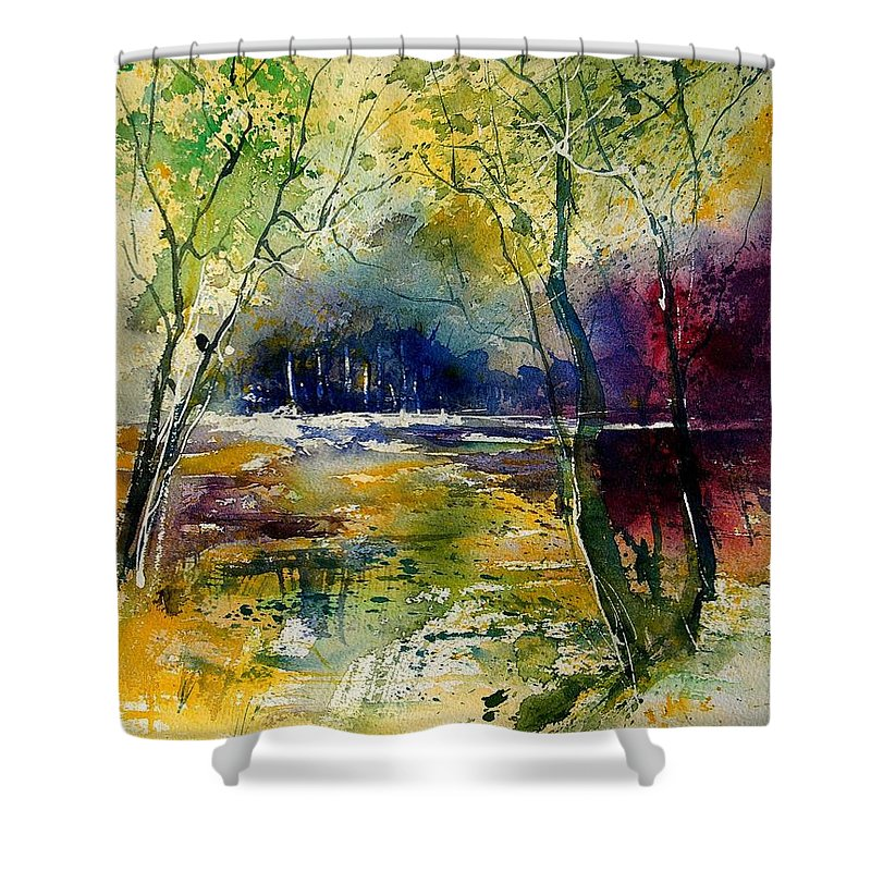 River Shower Curtain featuring the painting Watercolor 908010 by Pol Ledent