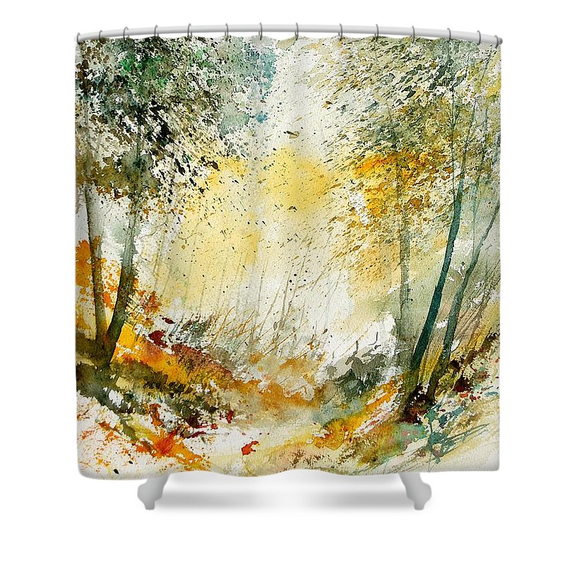 Tree Shower Curtain featuring the painting Watercolor 908021 by Pol Ledent