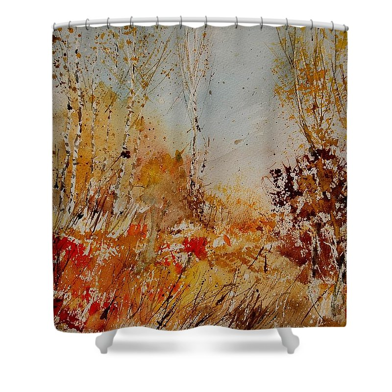 Tree Shower Curtain featuring the painting Watercolor 908031 by Pol Ledent