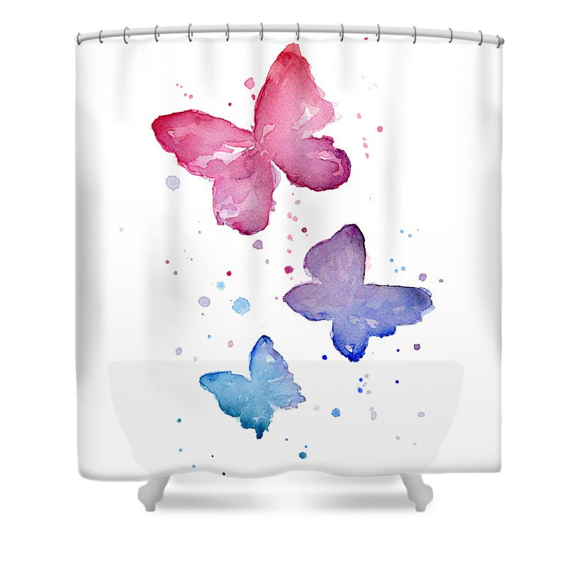 Watercolor Shower Curtain featuring the painting Watercolor Butterflies by Olga Shvartsur