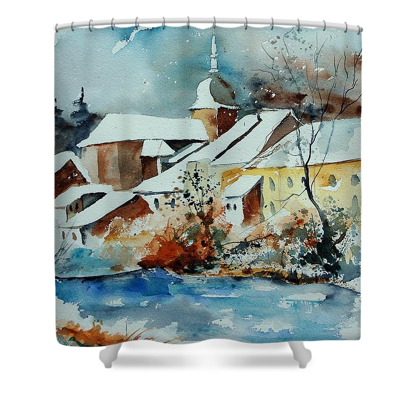 Landscape Shower Curtain featuring the painting Watercolor Chassepierre by Pol Ledent