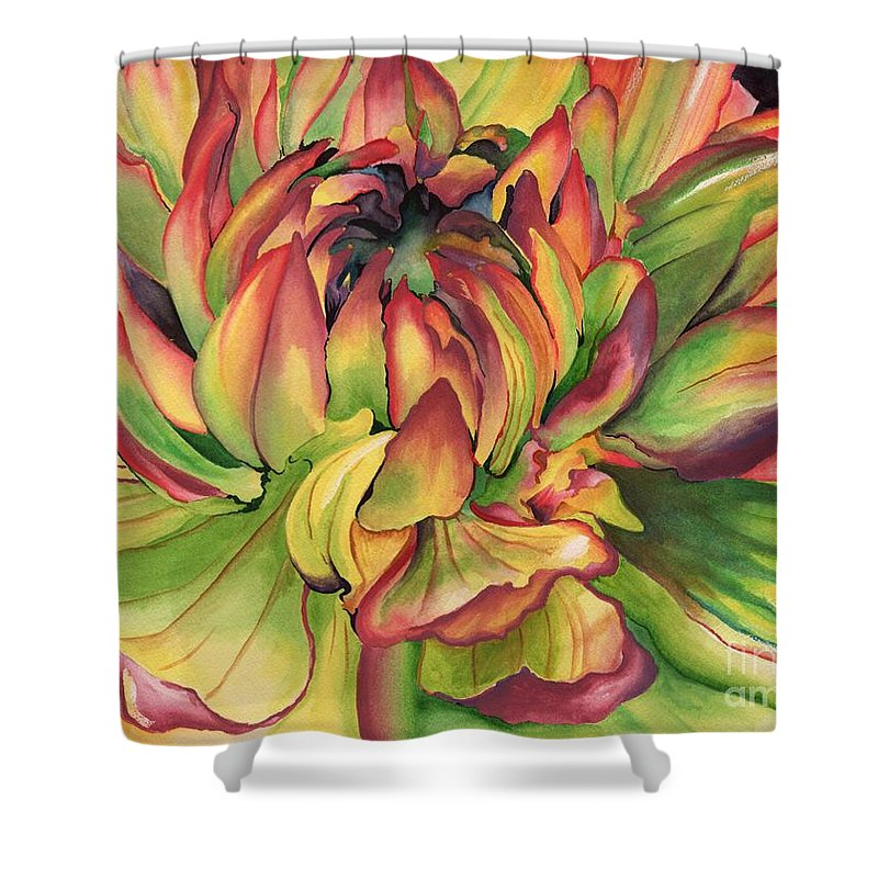 Dahlia Shower Curtain Featuring The Painting Watercolor By Angela Armano