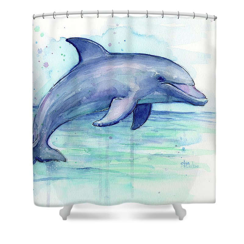 Dolphin Shower Curtain featuring the painting Watercolor Dolphin Painting - Facing Right by Olga Shvartsur
