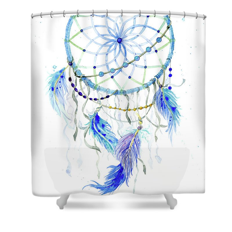 Watercolor Shower Curtain Featuring The Painting Dream Catcher Lavender Blue Feathers 1 By Audrey Jeanne