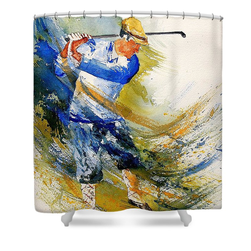 Golf Shower Curtain featuring the painting Watercolor Golf Player by Pol Ledent