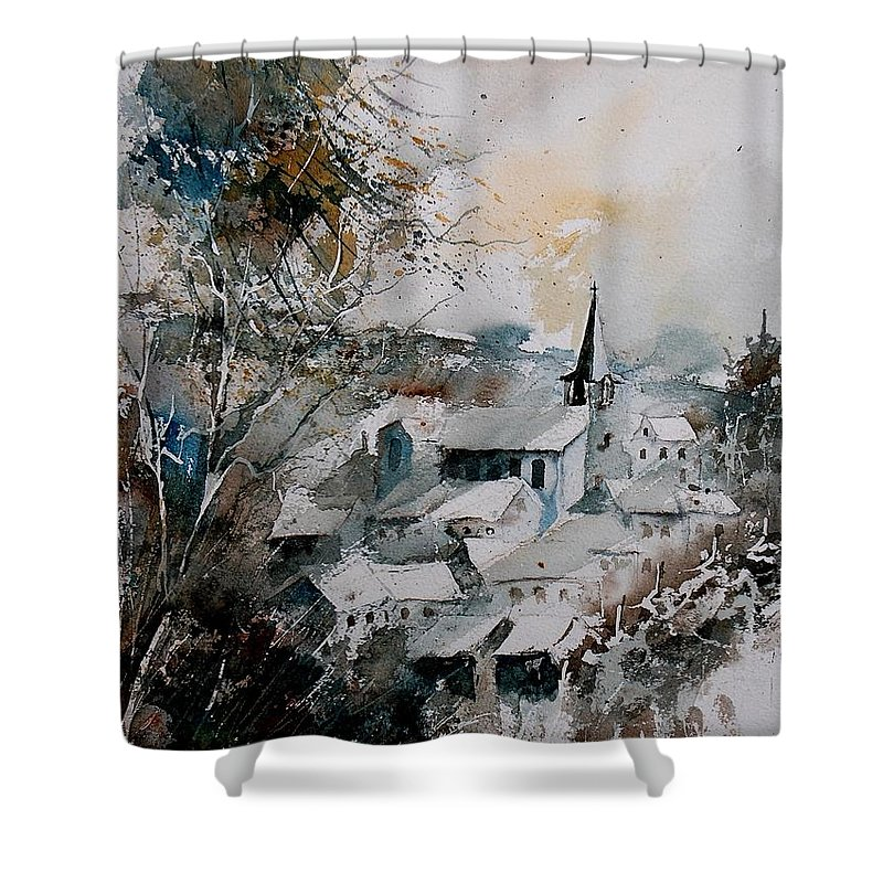 Winter Shower Curtain featuring the painting Watercolor Houyet by Pol Ledent