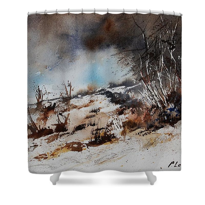 River Shower Curtain featuring the painting Watercolor Jjook by Pol Ledent