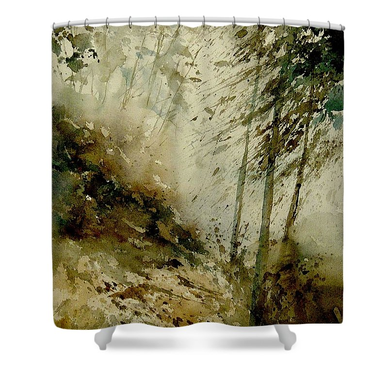 Landscape Shower Curtain featuring the painting Watercolor Misty Atmosphere by Pol Ledent