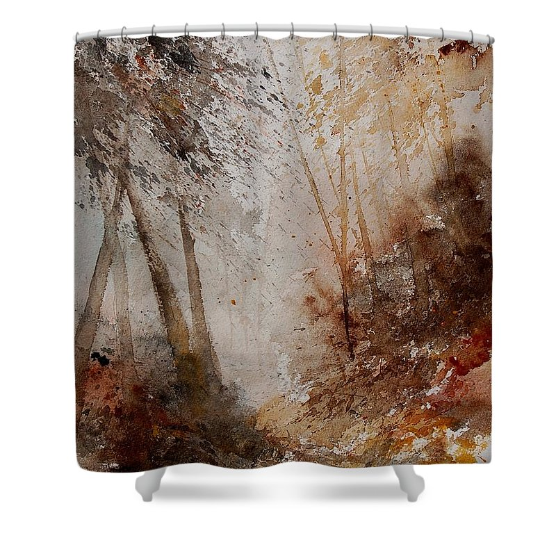 Landscape Shower Curtain featuring the painting Watercolor Misty Path by Pol Ledent