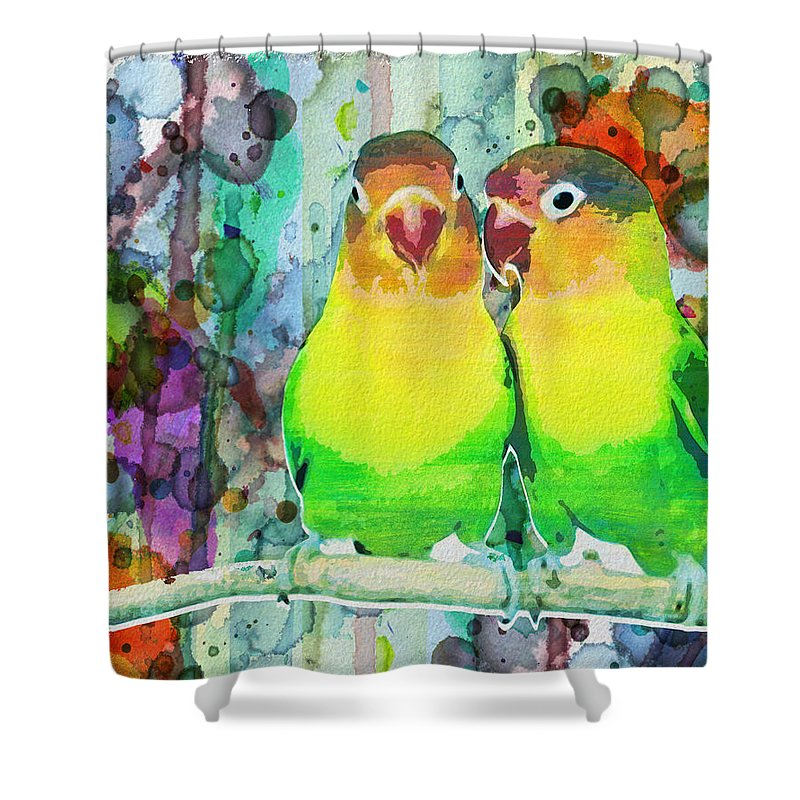 Neon Shower Curtain Featuring The Painting Watercolor Parrots Bird Abstract By Robert R