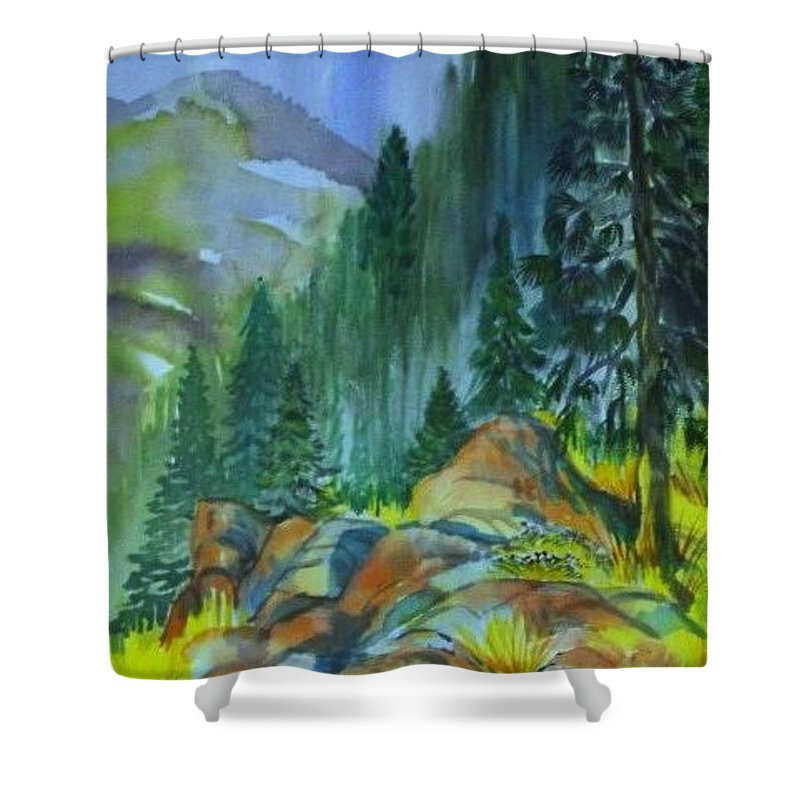 Watercolor Of Forest In Mountains Shower Curtain featuring the painting Watercolor of Mountain Forest by Annie Gibbons