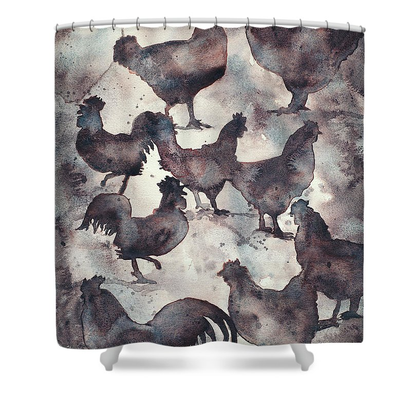 Art For House Shower Curtain featuring the painting Watercolor Painting Of Silhouette Of Roosters. Monochromatic Ch by Ryan Fox