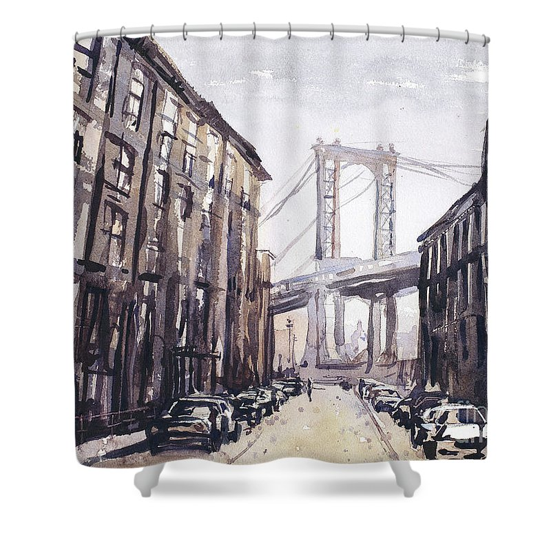 Art For House Shower Curtain featuring the painting Watercolor Painting Of The Brooklyn Bridge As Viewed From Brookl by Ryan Fox