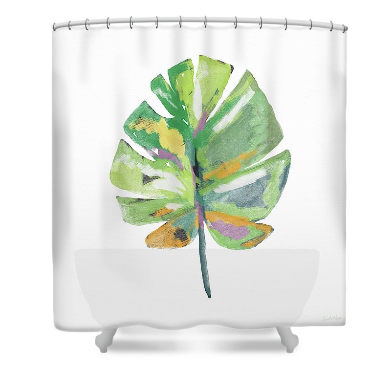 Watercolor Palm Leaf Art By Linda Woods Shower Curtain For Sale