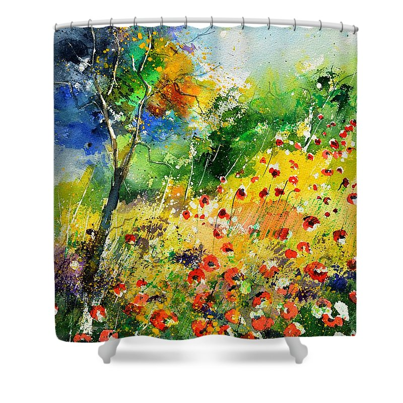 Poppies Shower Curtain featuring the painting Watercolor poppies 518001 by Pol Ledent