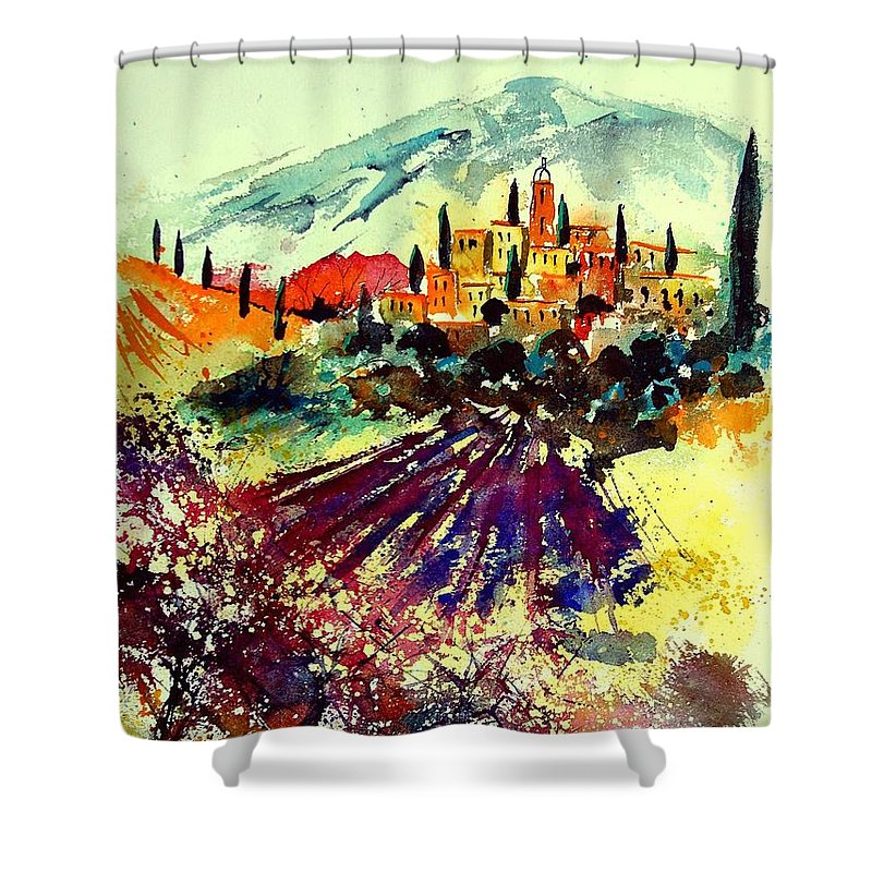 Poppies Shower Curtain featuring the painting Watercolor Provence 07 by Pol Ledent